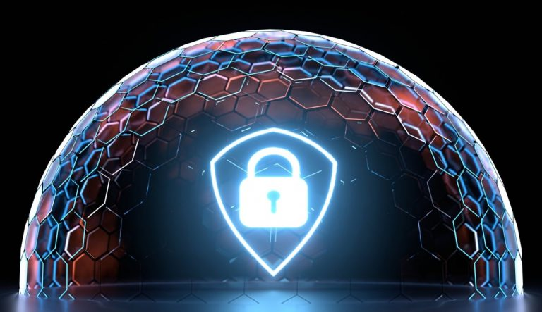 glowing-shield-icon-inside-hexagon-nano-grid-sphere-with-glowing-edge-color